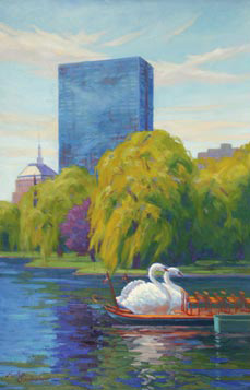 swan boat and hancock tower